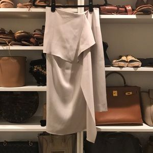 Chic light grey silk pencil skirt